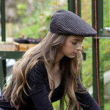 The Head Gardener Black Pinstripe Hat and Pinstripe Shoulder Bag Small
