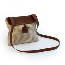 Brown Houndstooth Cross Body Bag & Au Naturel Trigger Hook End Dog Lead