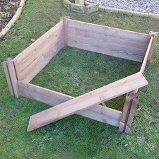 CLASSIC WOODEN RAISED BED single, 4 posts/8 planks WOCB