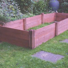 CLASSIC WOODEN RAISED BED triple, 8 posts/16 planks WOED
